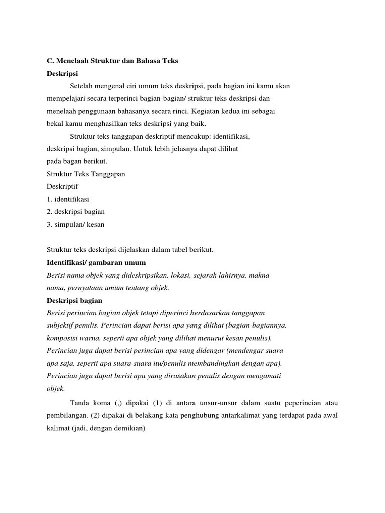 Ciri Bagian Identifikasi Pada Struktur Teks Deskripsi : bagian, identifikasi, struktur, deskripsi, Materi, Tampil