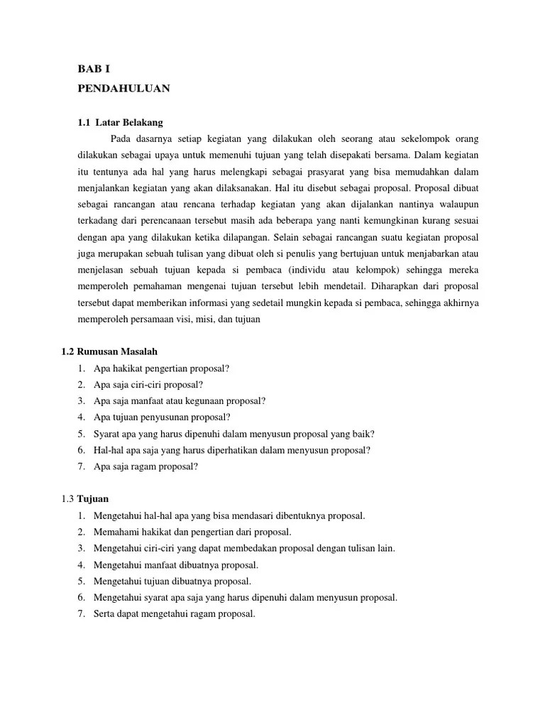 Ciri Ciri Proposal Yang Baik : proposal, Makalah, Proposal