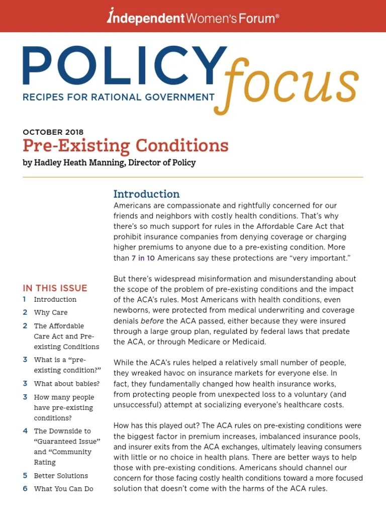 Pre-Existing Conditions   Patient Protection And ...