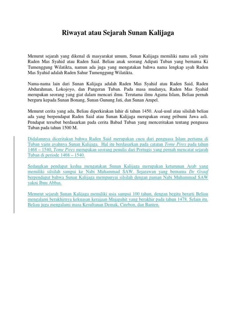 Silsilah Keturunan Sunan Bonang : silsilah, keturunan, sunan, bonang, Riwayat, Sejarah, Sunan, Kalijaga