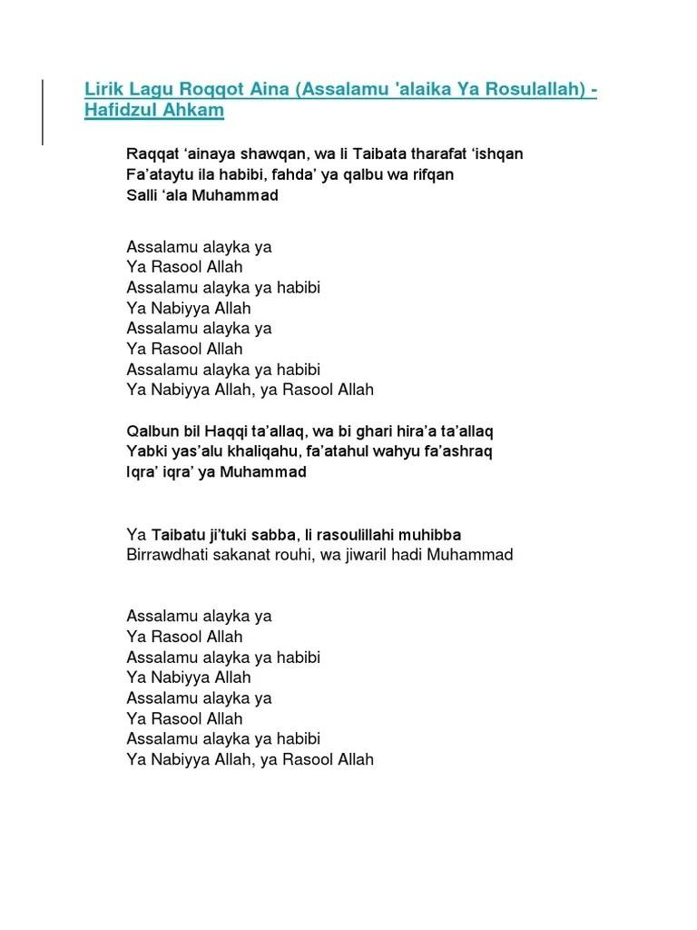 Lirik Lagu Roqqot Aina : lirik, roqqot, Lirik, Roqqot