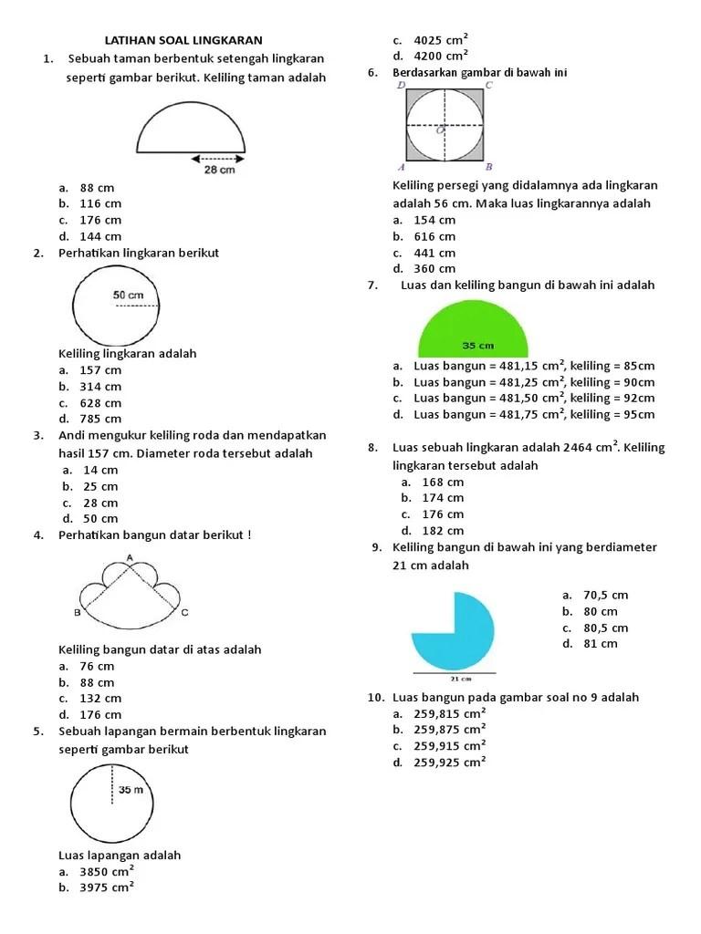 Contoh Soal Luas Lingkaran Dan Jawabannya Kelas 6 : contoh, lingkaran, jawabannya, kelas, Contoh, Keliling, Lingkaran, Kelas, Edukasi.Lif.co.id