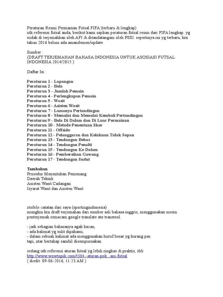 Peraturan Permainan Futsal Terbaru : peraturan, permainan, futsal, terbaru, Peraturan, Resmi, Permainan, Futsal, FIFA.doc