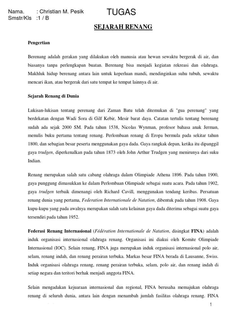 Sejarah Renang Indonesia : Pengertian,Sejarah,Macam Gaya
