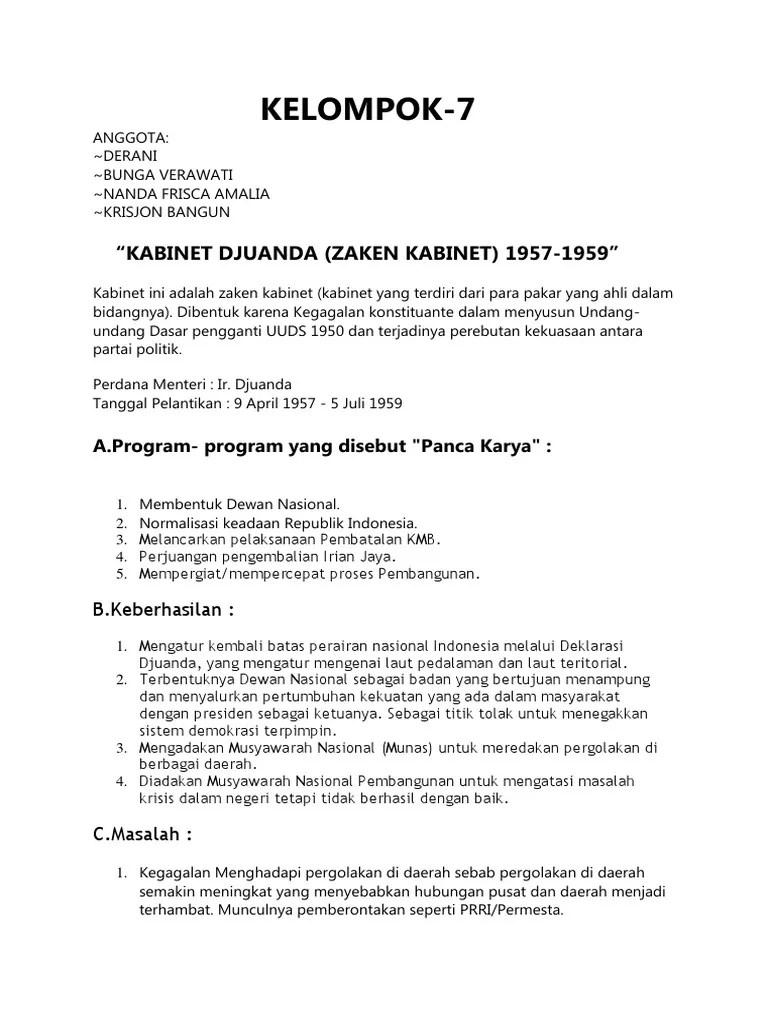 Program Kerja Kabinet Djuanda : program, kerja, kabinet, djuanda, Kabinet, Djuanda, Sering, Disebut, Zaken, Sebab, Sebutkan