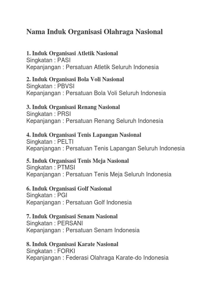 Organisasi Senam Indonesia Adalah : organisasi, senam, indonesia, adalah, Induk, Organisasi, Cabang, Olahraga