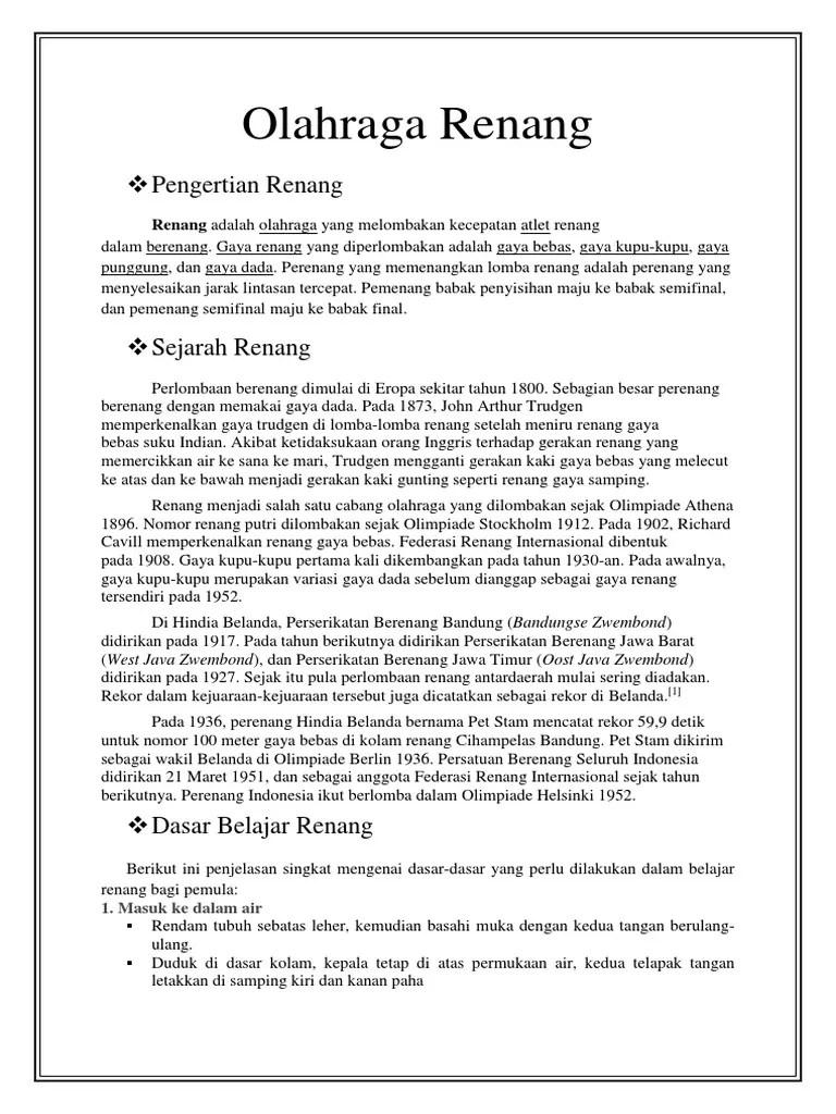 Penjelasan Tentang Olahraga Renang : penjelasan, tentang, olahraga, renang, Olahraga, Renang