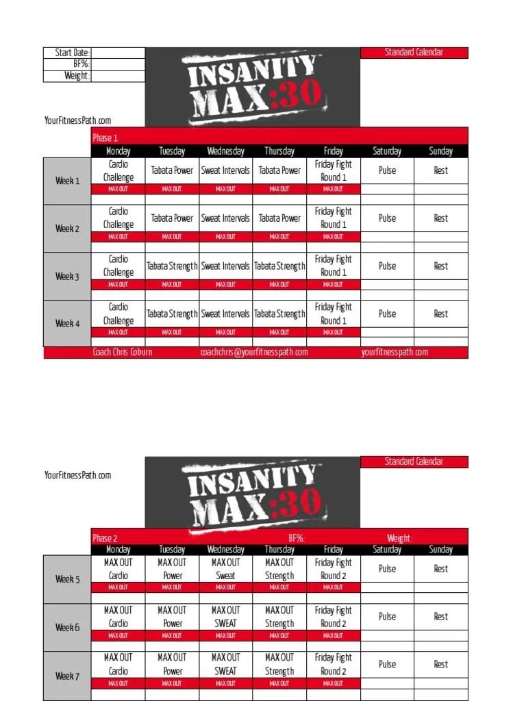 Insanity Max 30 Download : insanity, download, Insanity, Standard, Calendar, Sports