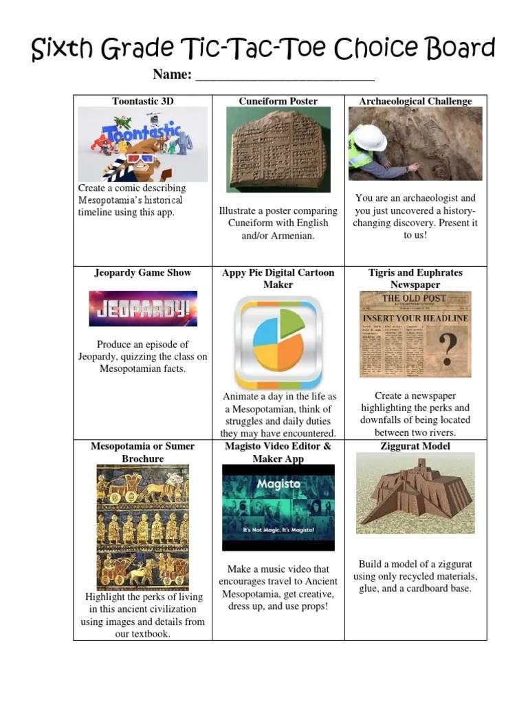 hight resolution of sixth grade choice board   Mesopotamia