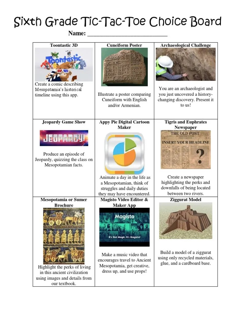 small resolution of sixth grade choice board   Mesopotamia