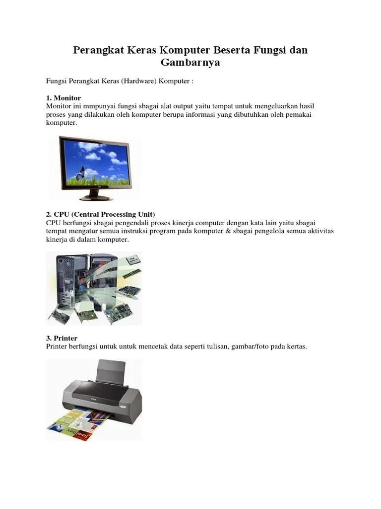 Contoh Perangkat Keras Komputer : contoh, perangkat, keras, komputer, Perangkat, Keras, Komputer, Beserta, Gambar, Fungsinya