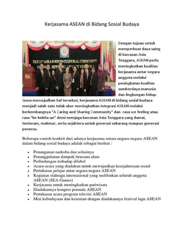 Kerjasama Di Bidang Politik : kerjasama, bidang, politik, Kerjasama, ASEAN, Bidang, Sosial, Budaya