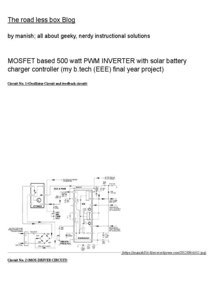 small resolution of mosfet based 500 watt pwm inverter with solar battery charger 500 watt inverter with solar battery charger controller schematic