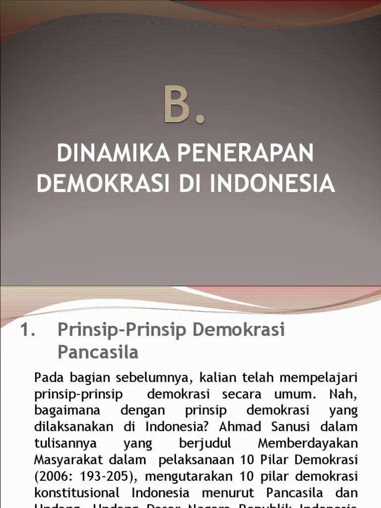 10 Pilar Demokrasi : pilar, demokrasi, Dinamikapenerapandemokrasi-170926012703