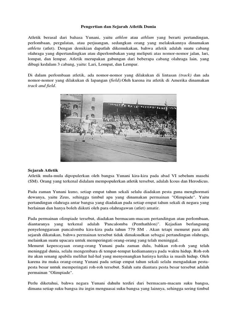 Sejarah Tentang Atletik : sejarah, tentang, atletik, Pengertian, Sejarah, Atletik, Dunia