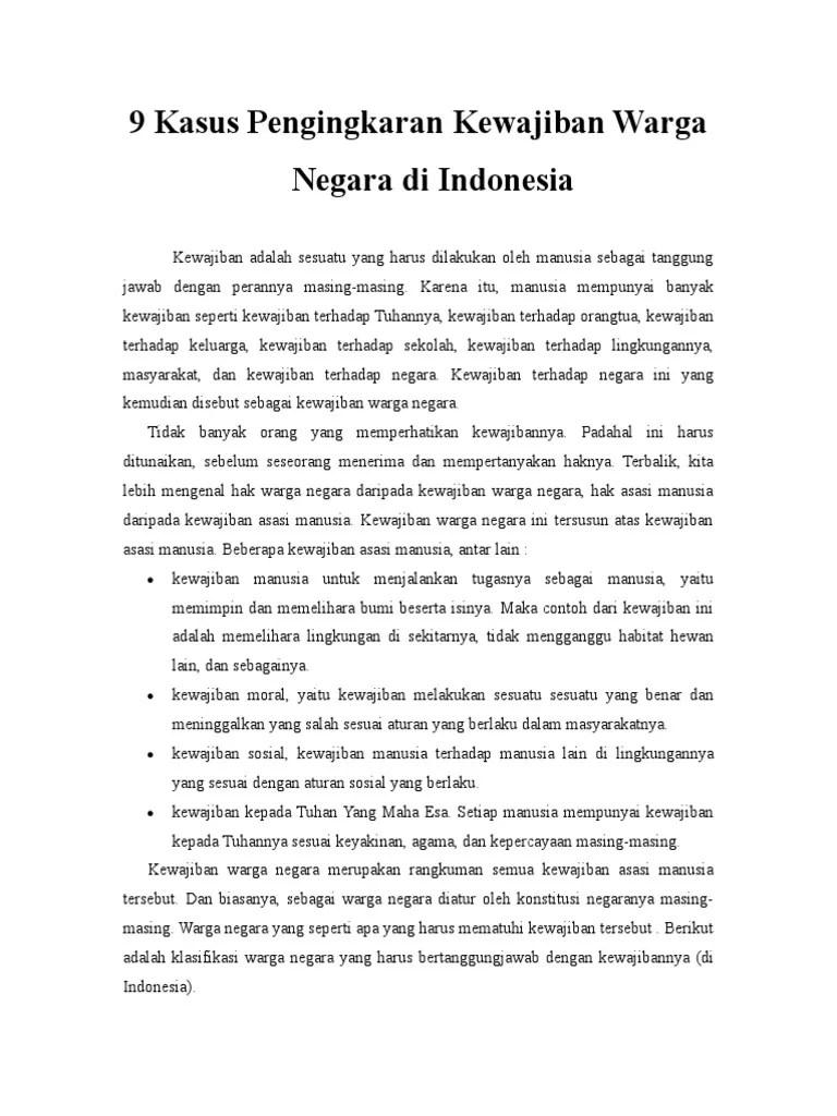 Contoh Kasus Pengingkaran Kewajiban : contoh, kasus, pengingkaran, kewajiban, Kasus, Pengingkaran, Kewajiban, Warga, Negara, Indonesia.doc