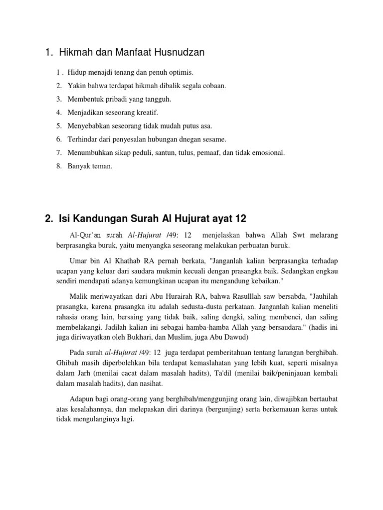 Penjelasan Tentang Isi Kandungan Surat Al Hujurat Ayat 12...