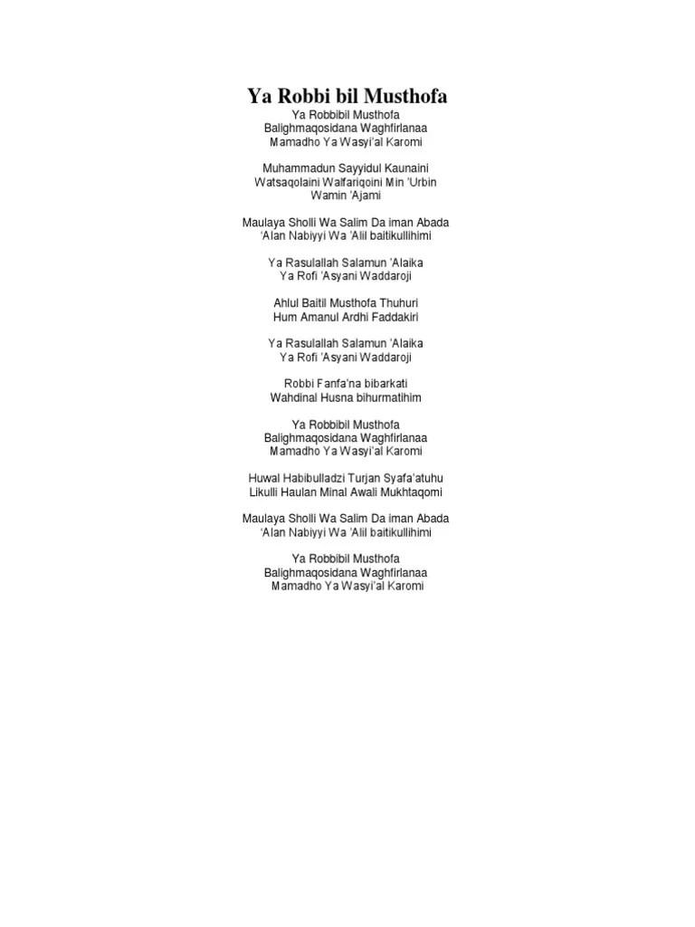 Lirik Ya Robbi Bil Mustofa : lirik, robbi, mustofa, Robbi, Musthofa