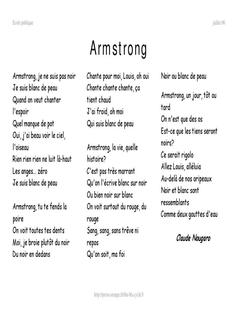 Armstrong Je Ne Suis Pas Noir Paroles : armstrong, paroles, Armstr