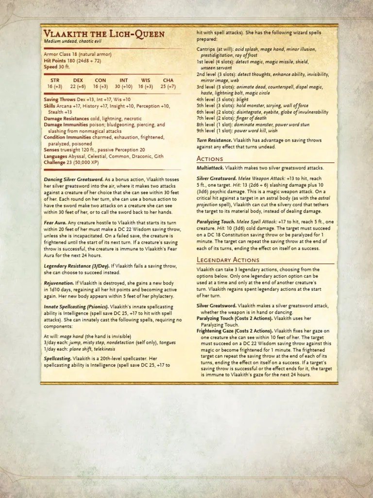 Lich 5e Stats : stats, Vlaakith, Queen, Gygax, Games, System