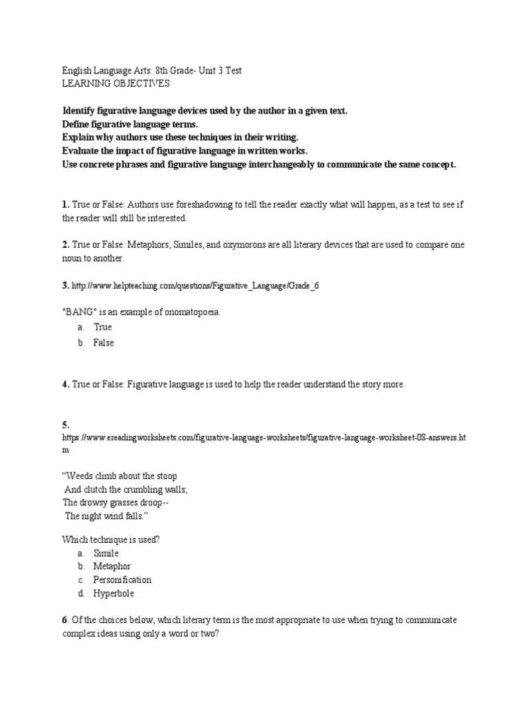 medium resolution of summative assessment 1   Metaphor   Semantics