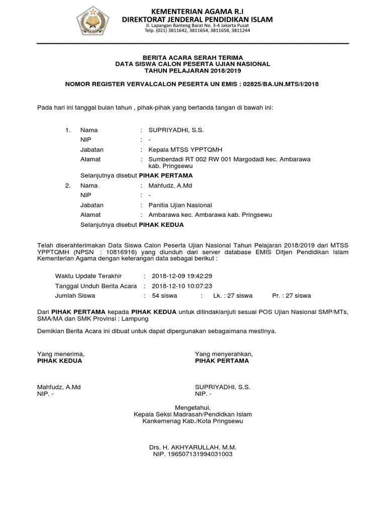 Emis Manajemen Un Ma : manajemen, Contoh, Dokumen, Berita, Acara, 2018/2019