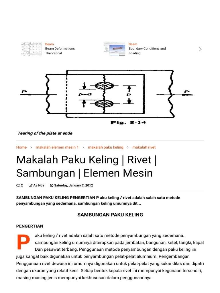 Makalah Paku Keling : makalah, keling, Makalah, Keling, Rivet, Sambungan, Elemen, Mesin, Nd4s4ch, Blog.pdf