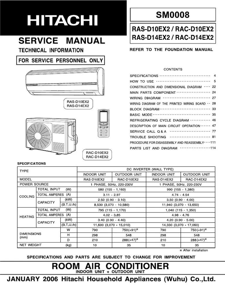 medium resolution of hitachi rac d10ex2 rac d14ex2 ras d10ex2 ras d14ex2 hvac air conditioning