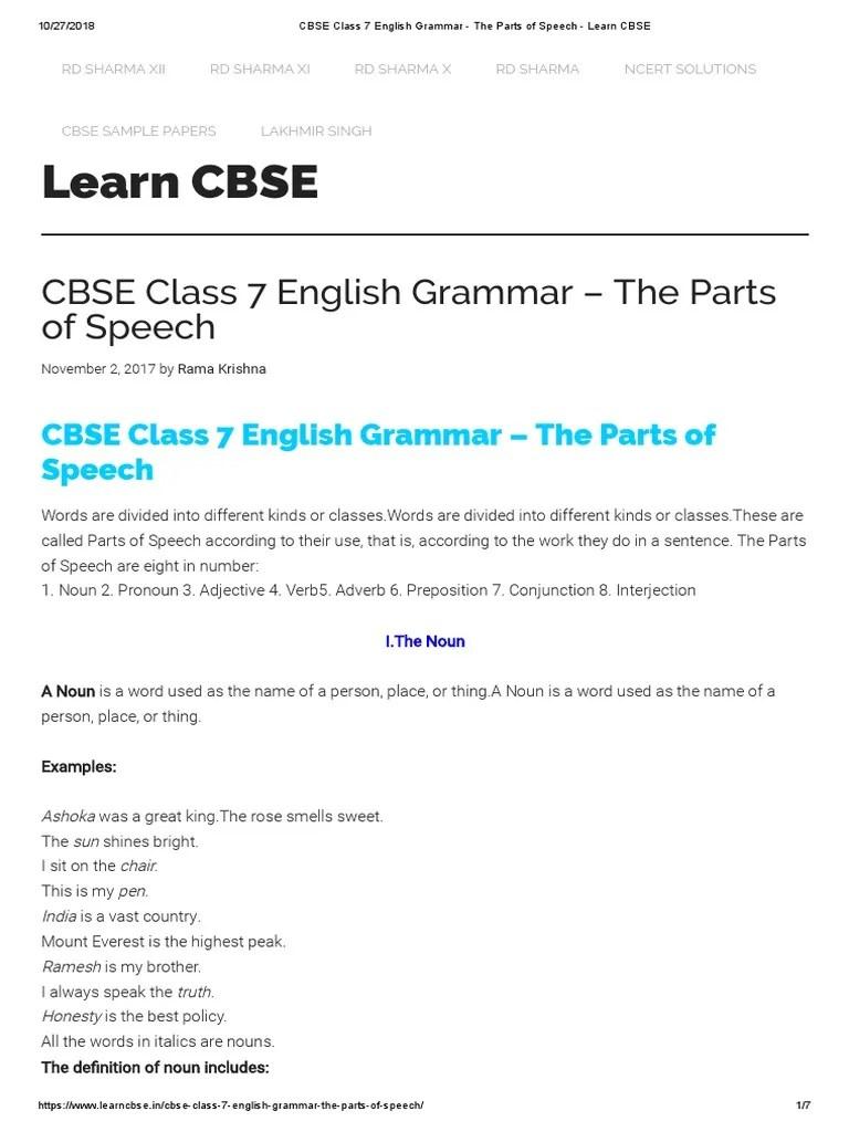 hight resolution of CBSE Class 7 English Grammar - The Parts of Speech - Learn CBSE   English  Grammar   Part Of Speech