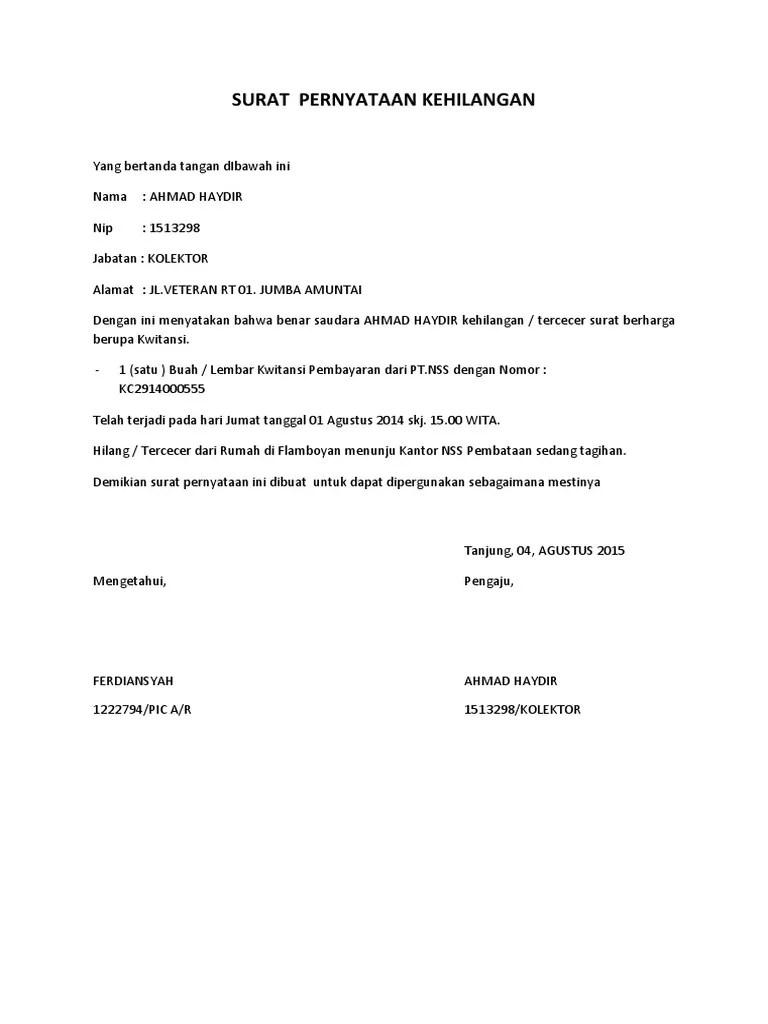 Contoh Surat Pernyataan Saksi Kehilangan Ijazah dari Guru