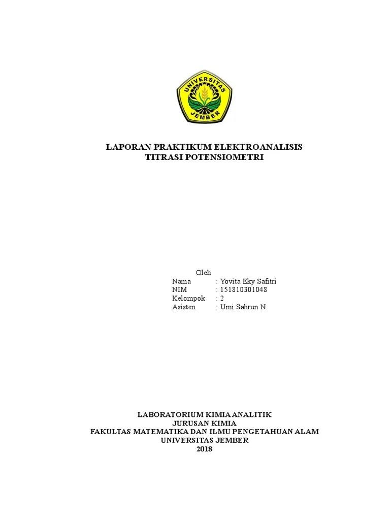Laporan Praktikum Potensiometri : laporan, praktikum, potensiometri, Laporan, Praktikum, Elektroanalisis, Titrasi, Potensiometri