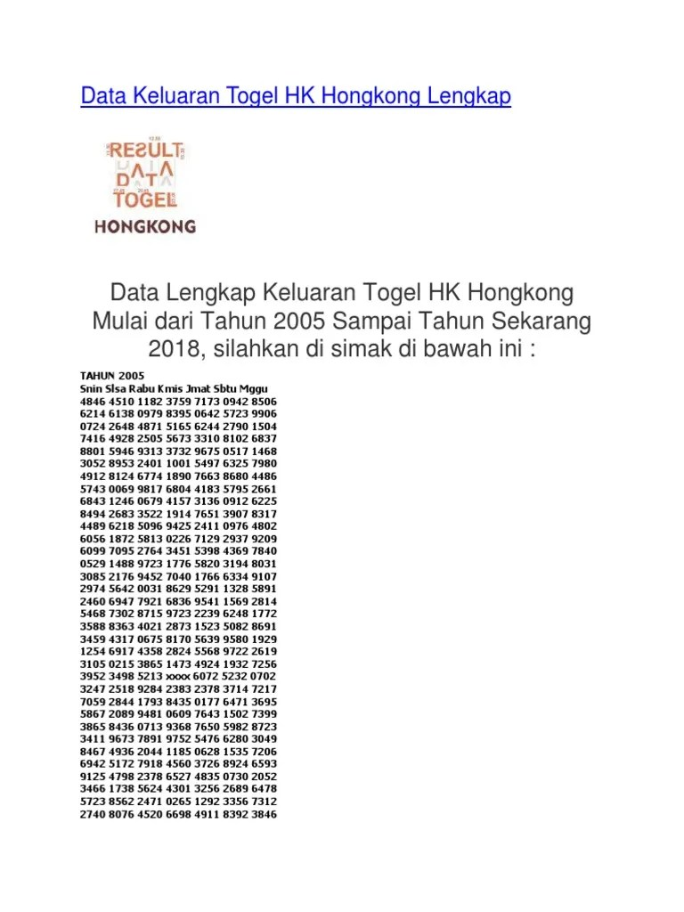 Data Keluaran Hk 2018 Sampai 2020 : keluaran, sampai, Togel, Sampai