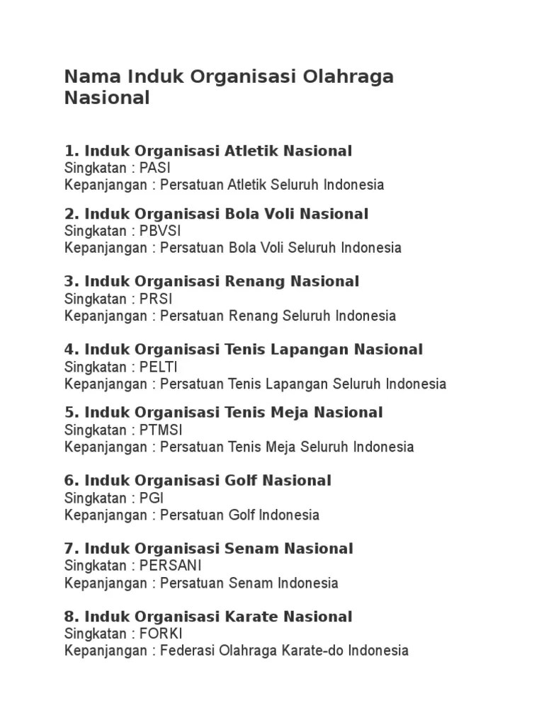 Organisasi Senam Indonesia Adalah : organisasi, senam, indonesia, adalah, Induk, Organisasi, Cabang, Olahraga.docx