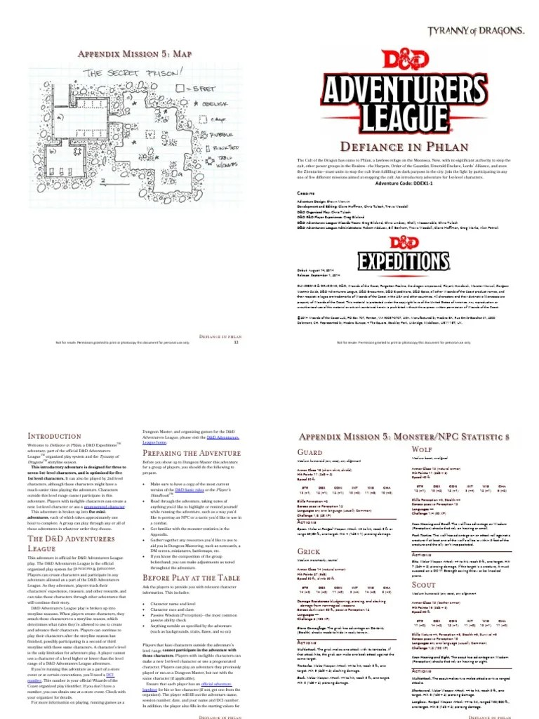 Defiance In Phlan : defiance, phlan, DDEX1-1, Defiance, Phlan, Booklet, Dungeons, Dragons, Playing, Games