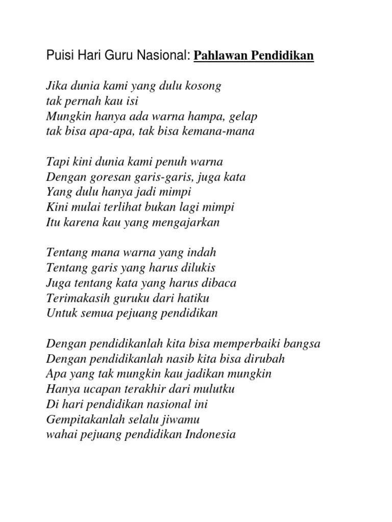 Puisi Hari Guru Nasional : puisi, nasional, Puisi, Nasional