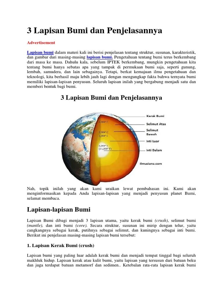 Lapisan Bumi Paling Dalam : lapisan, paling, dalam, Gambar, Penjelasan, Tentang, Lapisan, Paling