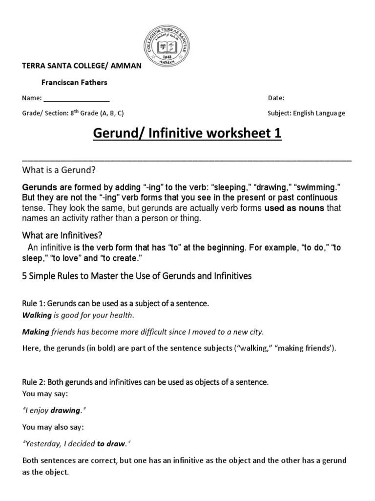 Gerund/ Infinitive worksheet 1: What is a Gerund?   Verb   Morphology [ 1024 x 768 Pixel ]