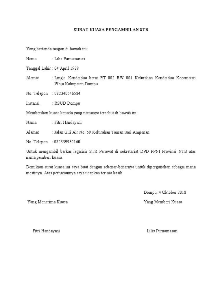 Contoh Surat Kuasa Pengambilan Str : contoh, surat, kuasa, pengambilan, Surat, Kuasa, Pengambilan