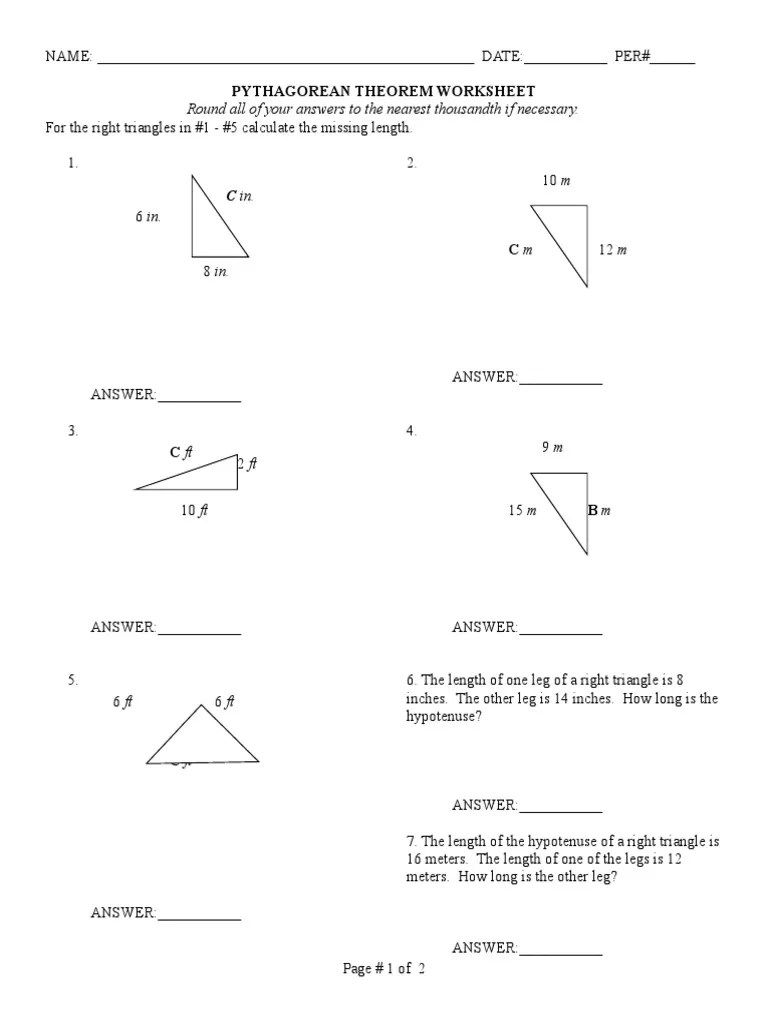 Pythagorean Theorem Worksheet Revised   Triangle   Elementary Geometry [ 1024 x 768 Pixel ]