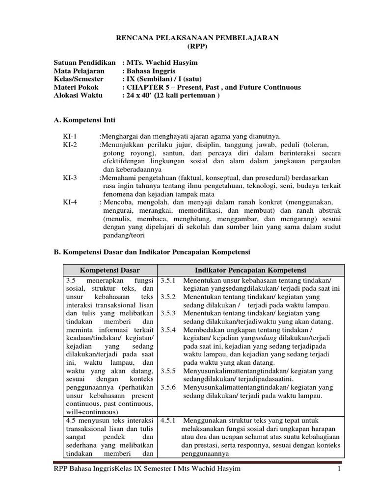 Rpp Bahasa Inggris Smp Kelas 9 Kurikulum 2013 Pdf : bahasa, inggris, kelas, kurikulum, Bahasa, Inggris, Kelas, SMP-MTs, Semester, Materi, Present,, Future, Continuous.docx