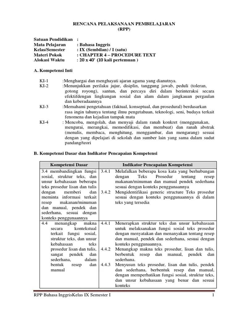 Rpp Bahasa Inggris Smp Kelas 9 Kurikulum 2013 Pdf : bahasa, inggris, kelas, kurikulum, Bahasa, Inggris, Kelas, SMP-MTs, Semester, Materi, PROCEDURE