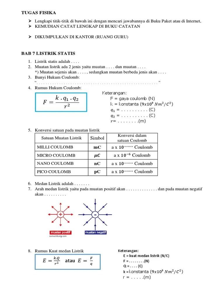 Satuan Muatan Listrik : satuan, muatan, listrik, Tugas, Fisika, Listrik, Statis