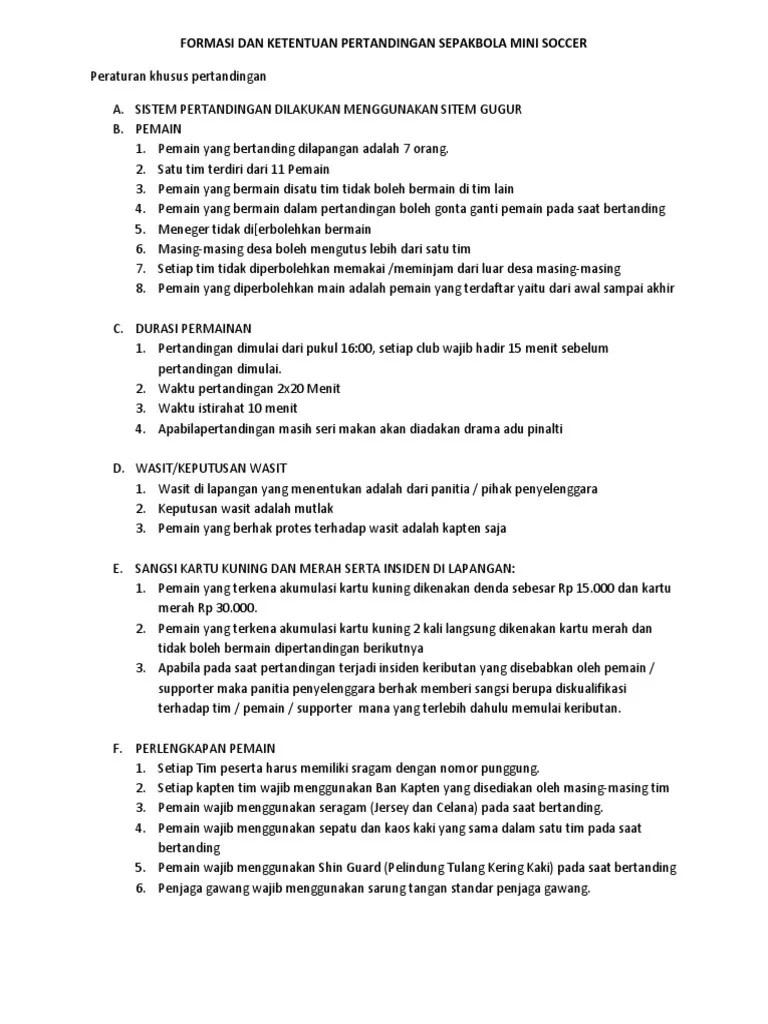 Peraturan Mini Soccer : peraturan, soccer, Formasi, Ketentuan, Pertandingan, Sepakbola, Soccer