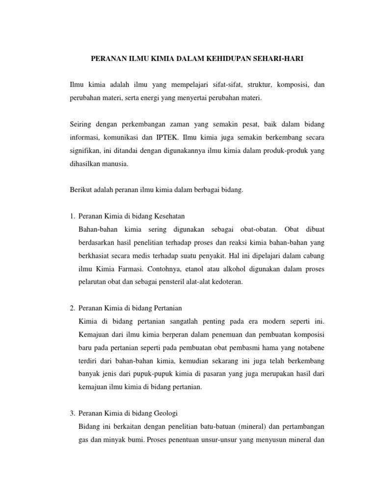Peranan Ilmu Kimia Dalam Pertanian : peranan, kimia, dalam, pertanian, Contoh, Makalah, Peranan, Kimia, Dalam, Kehidupan, Sehari, Cute766