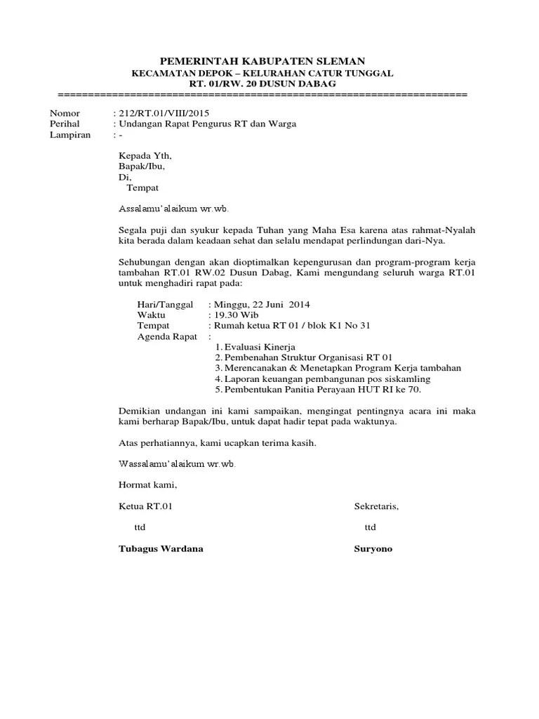 Contoh Undangan Rt : contoh, undangan, Contoh, Surat, Undangan, Rapat, Untuk, Warga, Sample