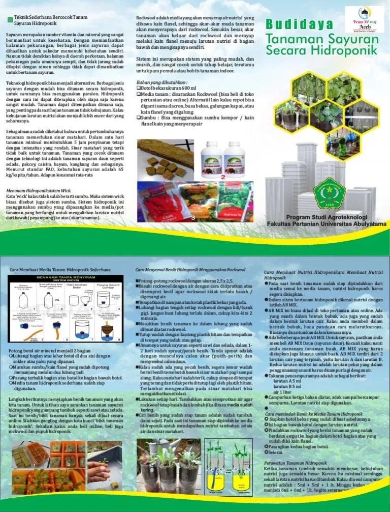 Hidroponik Sistem Wick Pdf : hidroponik, sistem, Media, Hidroponik, Sistem, Untuk, Tanaman, Pakcoy, Tentang