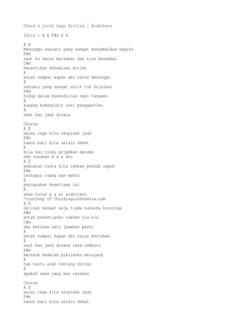 Chord Zivilia Aishiteru 2 : chord, zivilia, aishiteru, Chord, Lirik, Zivilia, Aishiteru