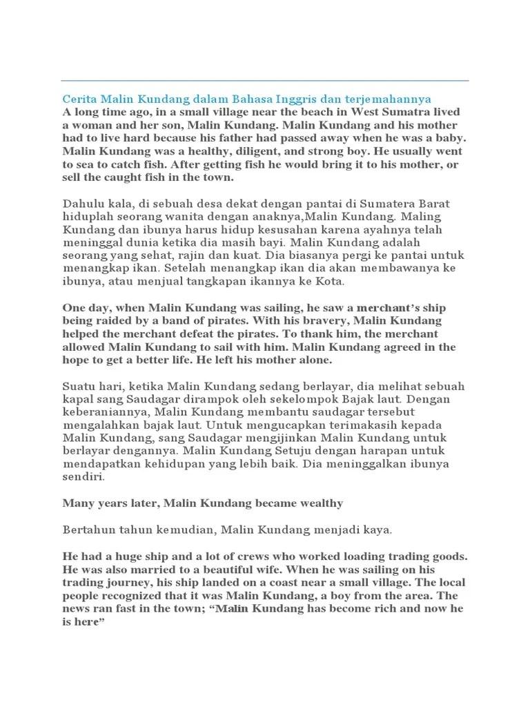 Cerita Malin Kundang Dalam Bahasa Inggris : cerita, malin, kundang, dalam, bahasa, inggris, Cerita, Malin, Kundang, Dalam, Bahasa, Inggris, Terjemahannya.docx