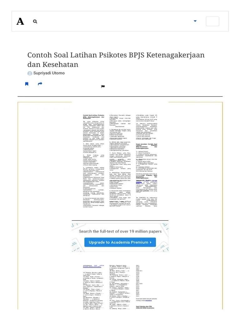 Contoh Soal Tes Bpjs Ketenagakerjaan Online : contoh, ketenagakerjaan, online, Contoh, Latihan, Psikotes, Ketenagakerjaan, Kesehatan, Cute766