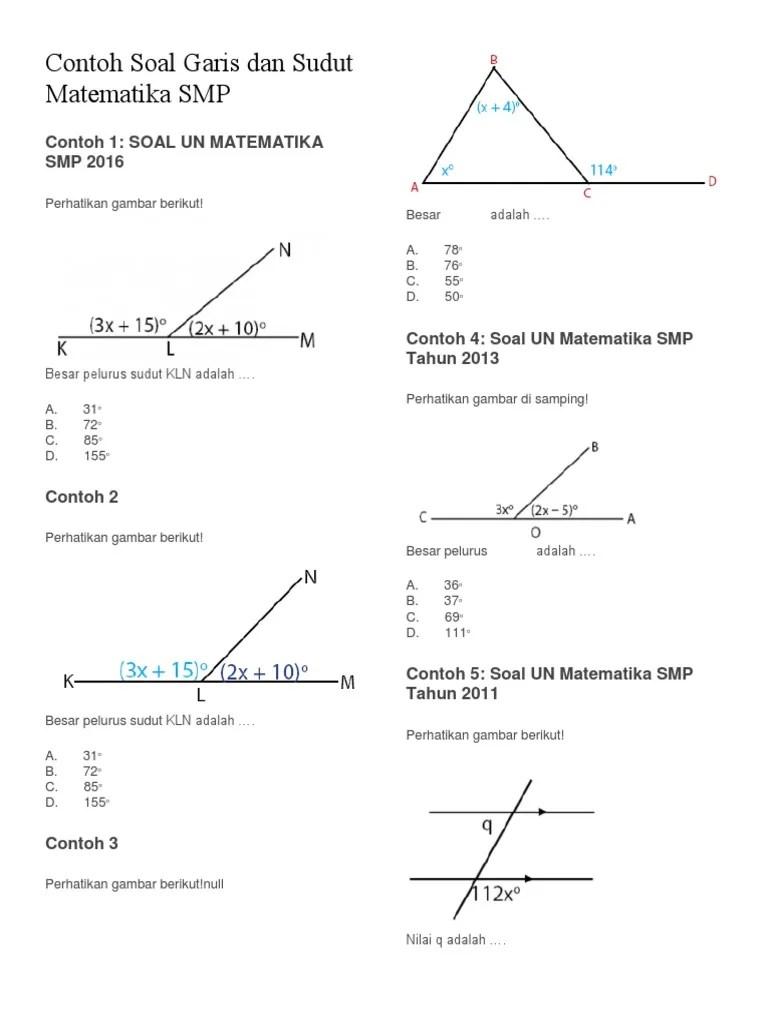 Soal Garis Dan Sudut : garis, sudut, Contoh, Matematika, Garis, Sudut, Bangsoal, Cute766